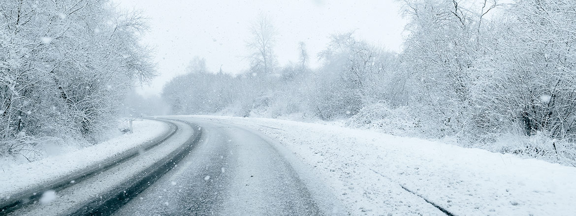 image of snowy road